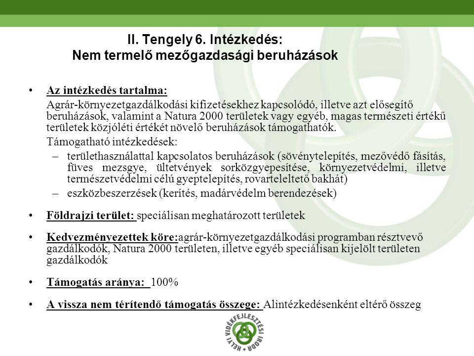 II. Tengely 6. Intézkedés: Nem termelő mezőgazdasági beruházások