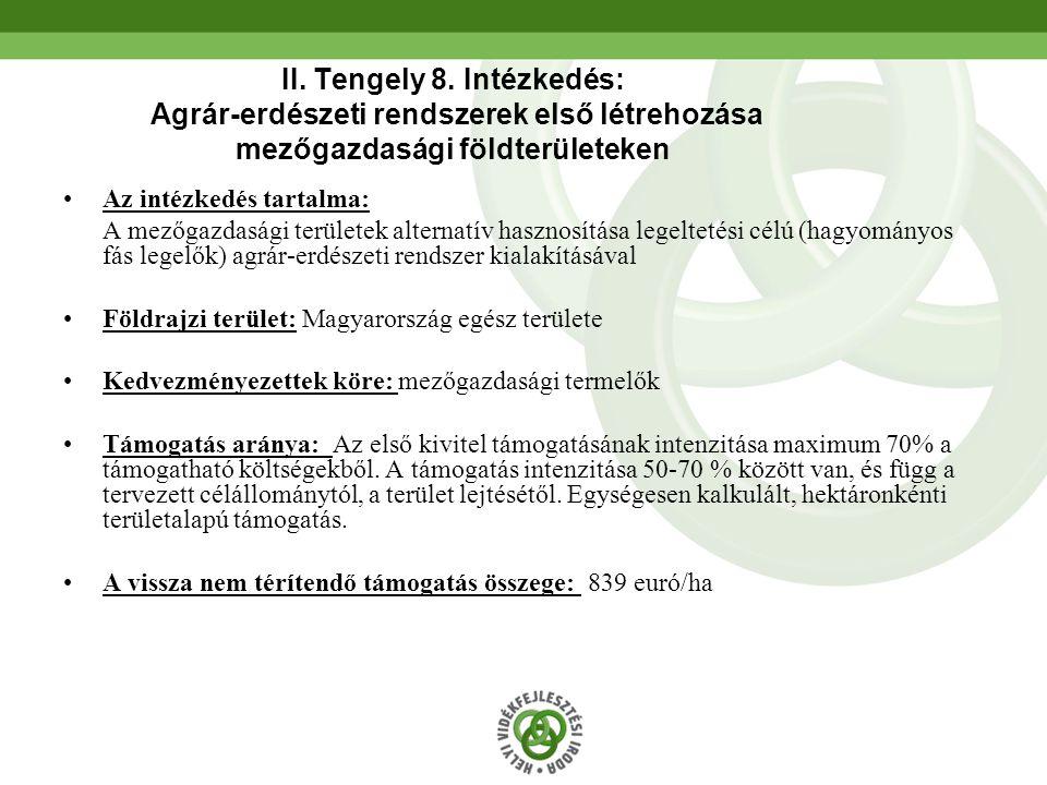 II. Tengely 8. Intézkedés: Agrár-erdészeti rendszerek első létrehozása mezőgazdasági földterületeken