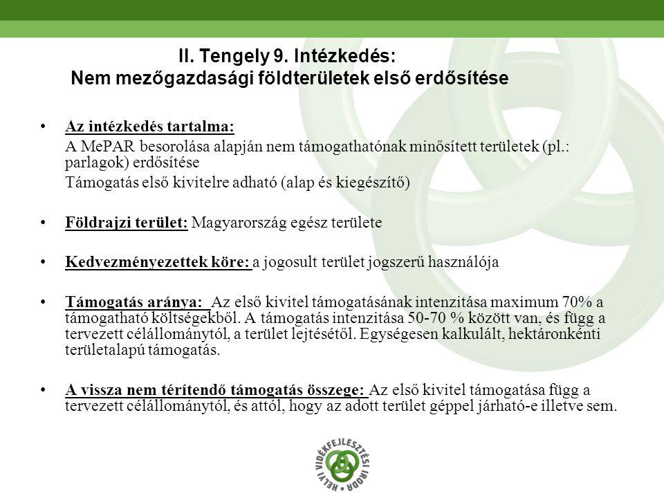 II. Tengely 9. Intézkedés: Nem mezőgazdasági földterületek első erdősítése