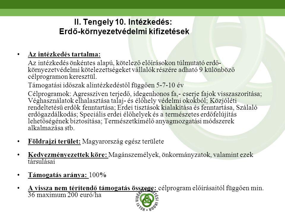 II. Tengely 10. Intézkedés: Erdő-környezetvédelmi kifizetések