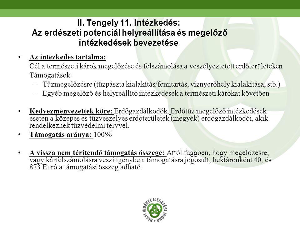 II. Tengely 11. Intézkedés: Az erdészeti potenciál helyreállítása és megelőző intézkedések bevezetése