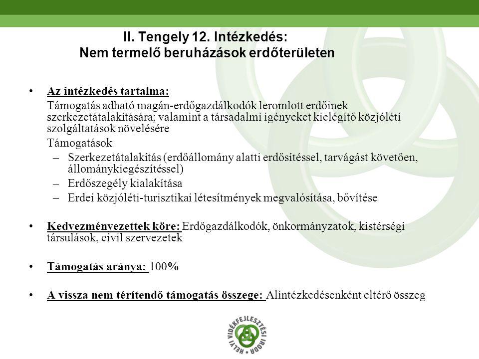 II. Tengely 12. Intézkedés: Nem termelő beruházások erdőterületen