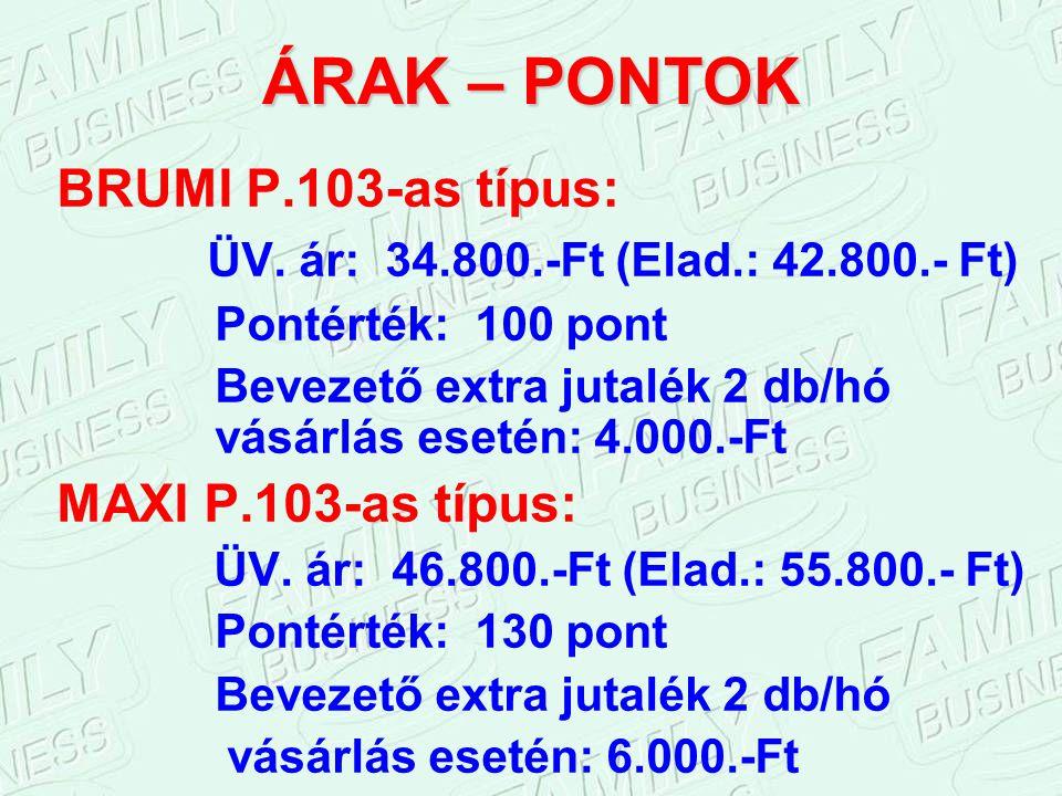 ÁRAK – PONTOK BRUMI P.103-as típus: