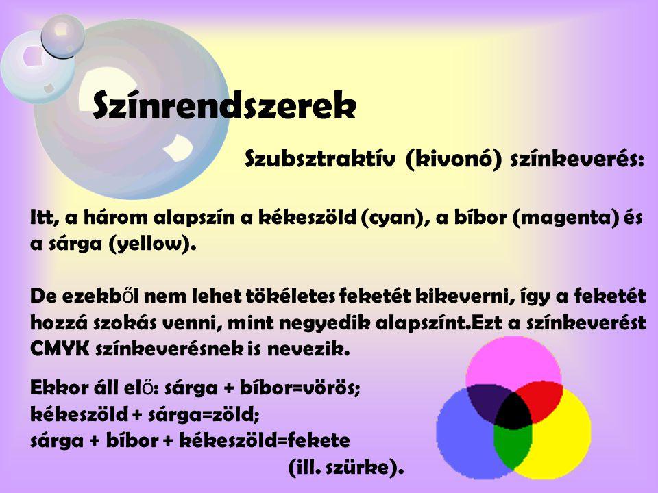 Színrendszerek Szubsztraktív (kivonó) színkeverés: