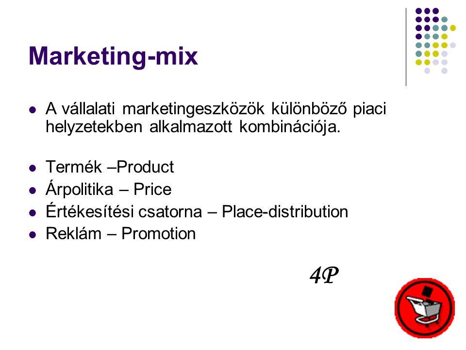 Marketing-mix A vállalati marketingeszközök különböző piaci helyzetekben alkalmazott kombinációja. Termék –Product.