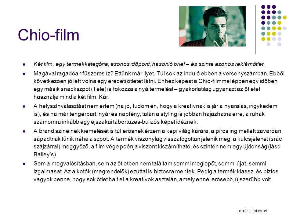 Chio-film Két film, egy termékkategória, azonos időpont, hasonló brief – és szinte azonos reklámötlet.
