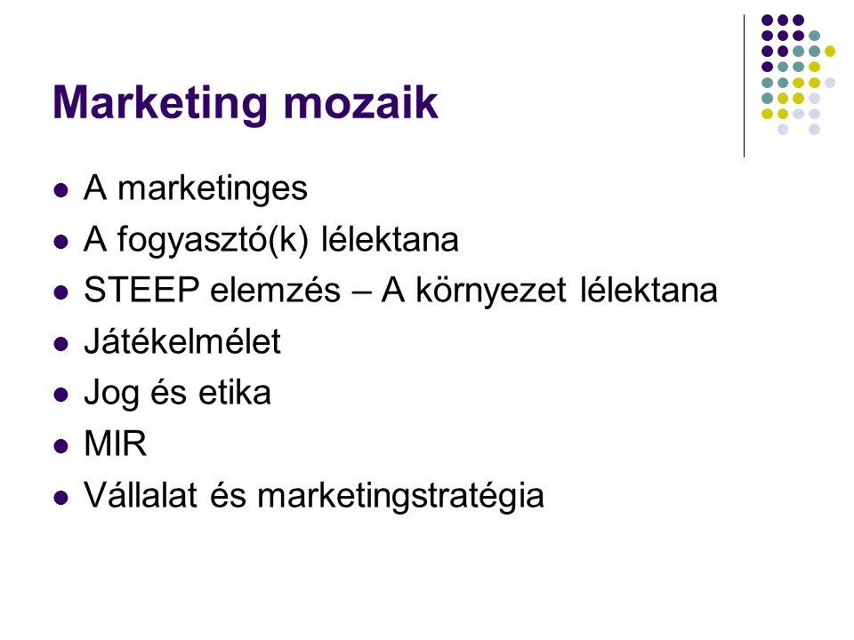 Marketing mozaik A marketinges A fogyasztó(k) lélektana