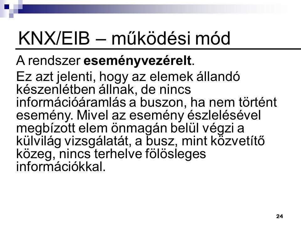 KNX/EIB – működési mód A rendszer eseményvezérelt.