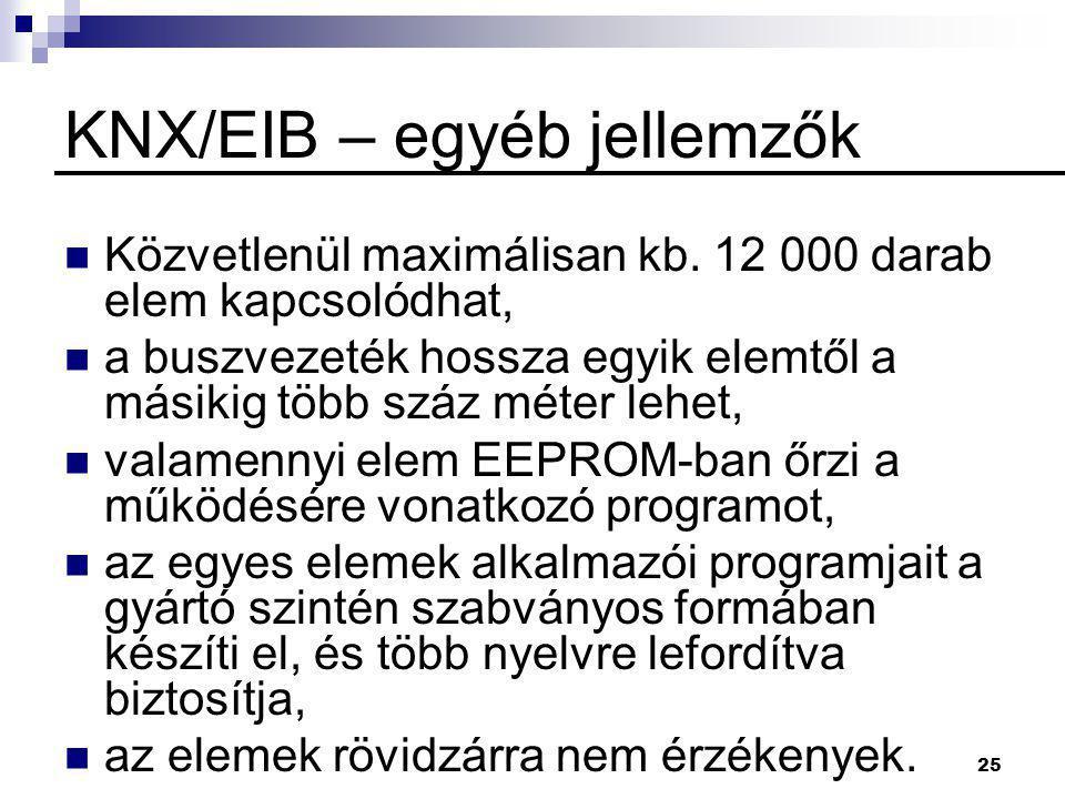 KNX/EIB – egyéb jellemzők