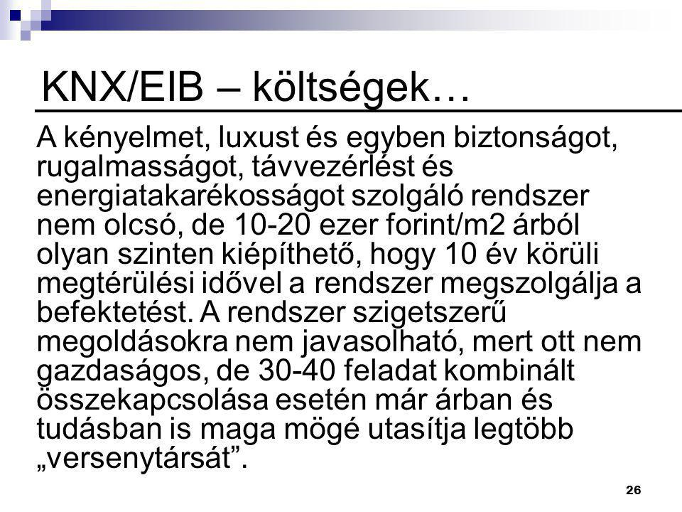 KNX/EIB – költségek…