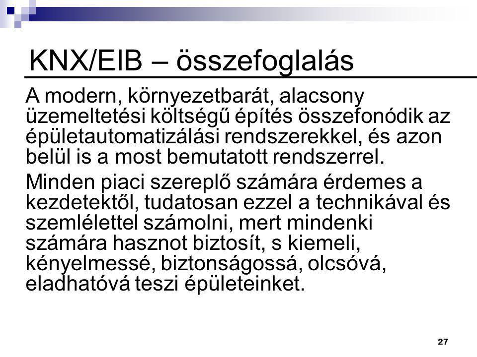 KNX/EIB – összefoglalás