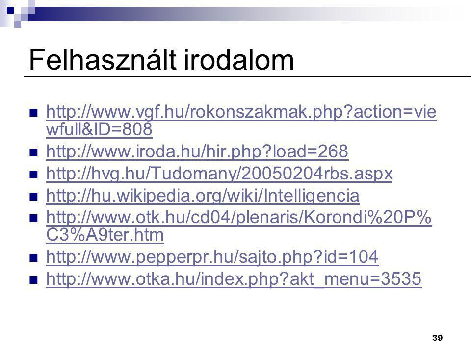 Felhasznált irodalom http://www.vgf.hu/rokonszakmak.php action=viewfull&ID=808. http://www.iroda.hu/hir.php load=268.