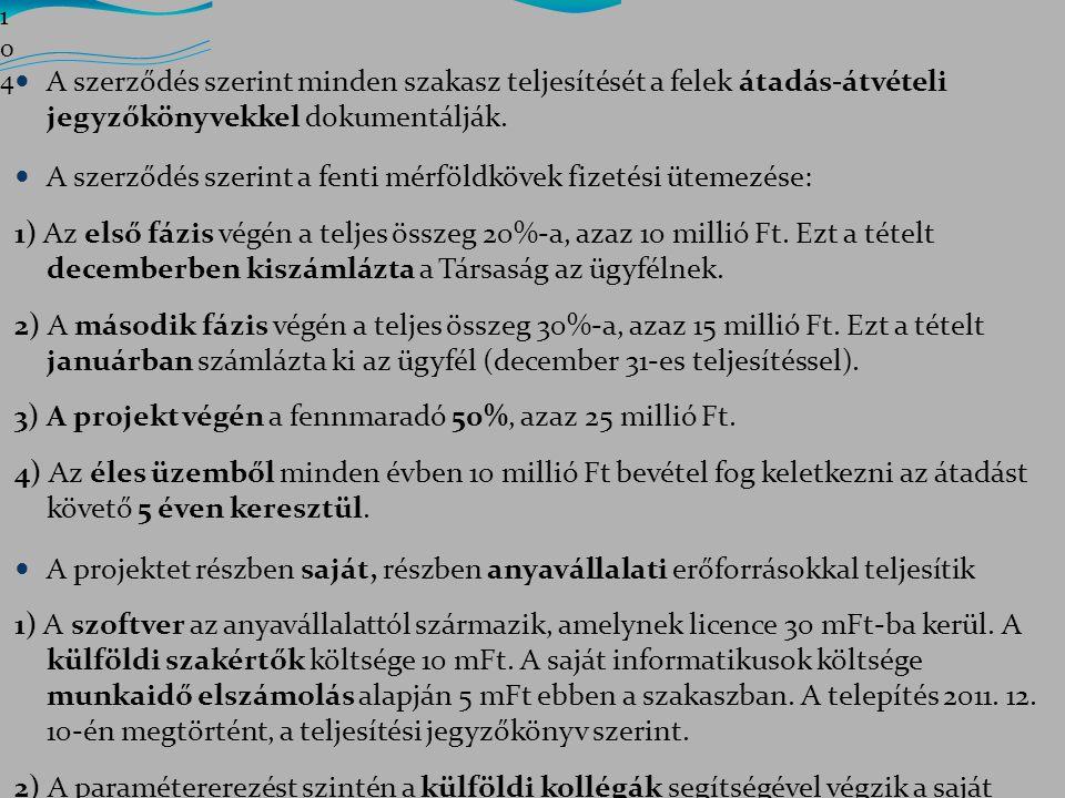 A szerződés szerint a fenti mérföldkövek fizetési ütemezése: