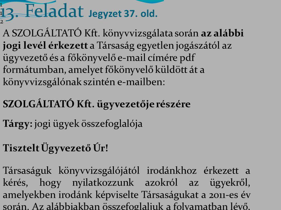 112112112 13. Feladat Jegyzet 37. old.