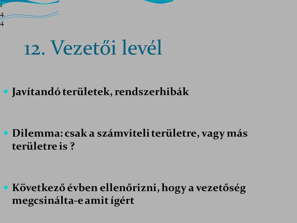 12. Vezetői levél Javítandó területek, rendszerhibák