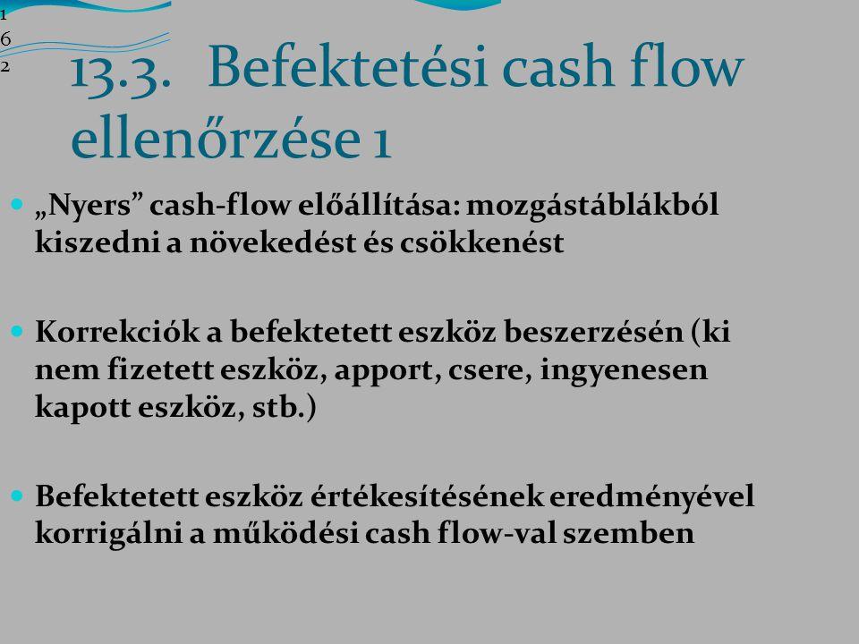 13.3. Befektetési cash flow ellenőrzése 1