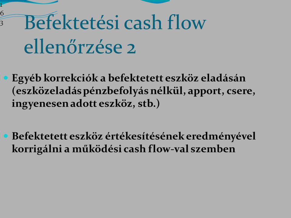 Befektetési cash flow ellenőrzése 2