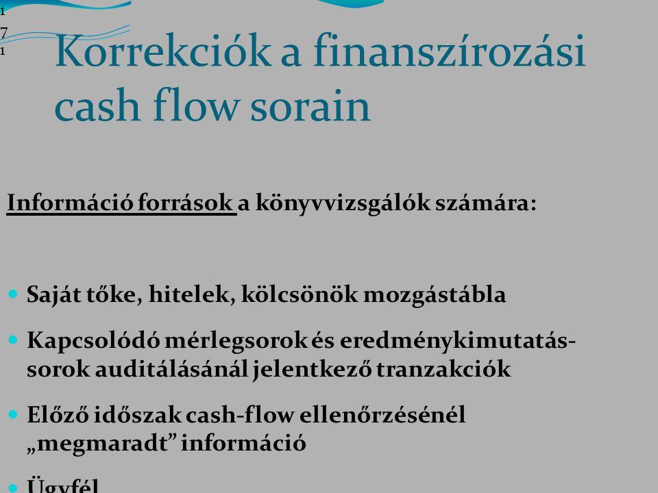 Korrekciók a finanszírozási cash flow sorain