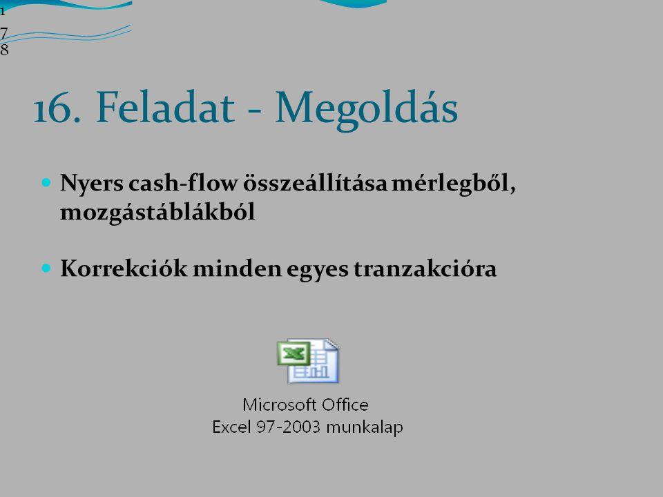 178178178 16. Feladat - Megoldás. Nyers cash-flow összeállítása mérlegből, mozgástáblákból.