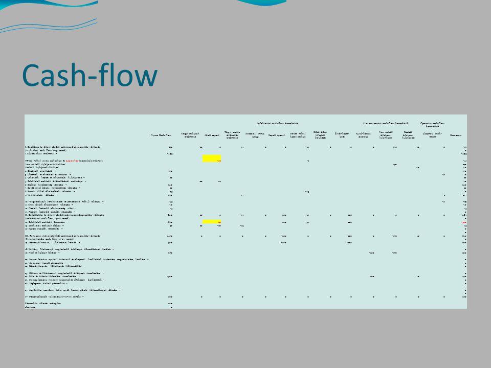 Cash-flow Befektetési cash-flow korrekciók