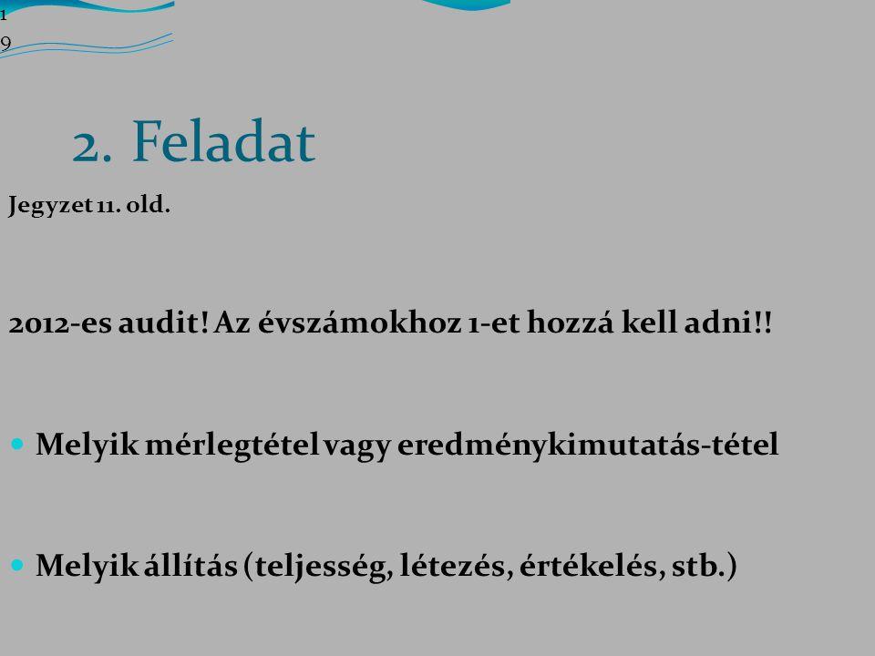 2. Feladat 2012-es audit! Az évszámokhoz 1-et hozzá kell adni!!