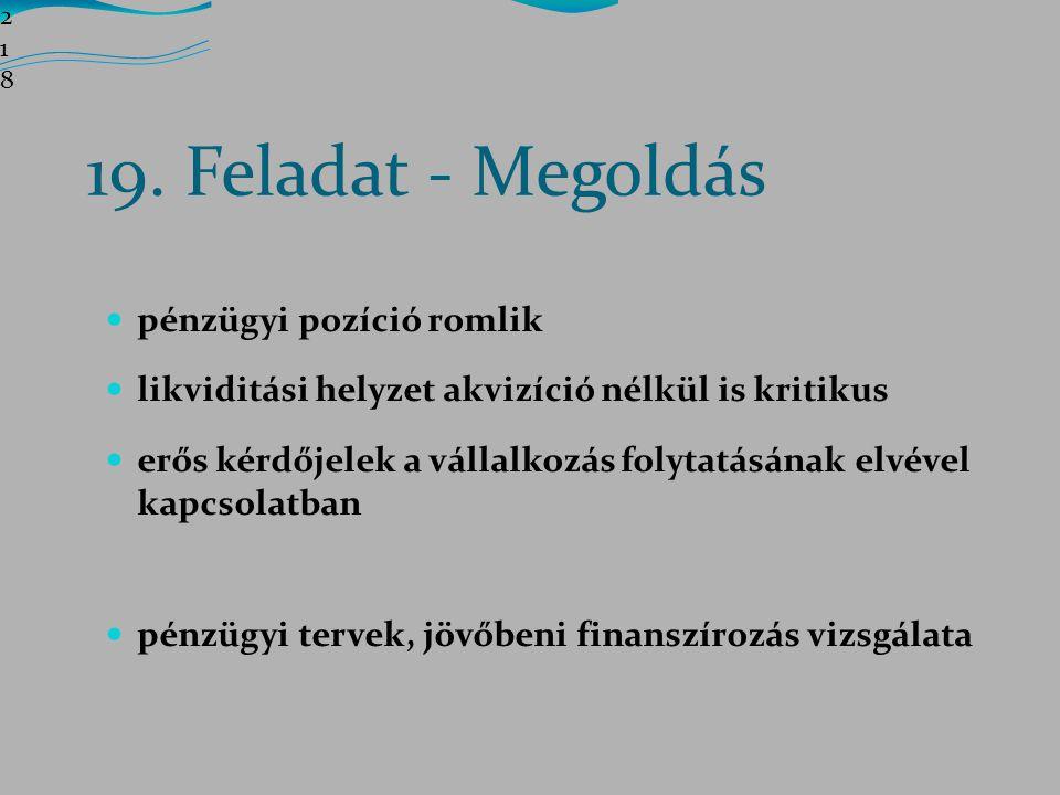 19. Feladat - Megoldás pénzügyi pozíció romlik
