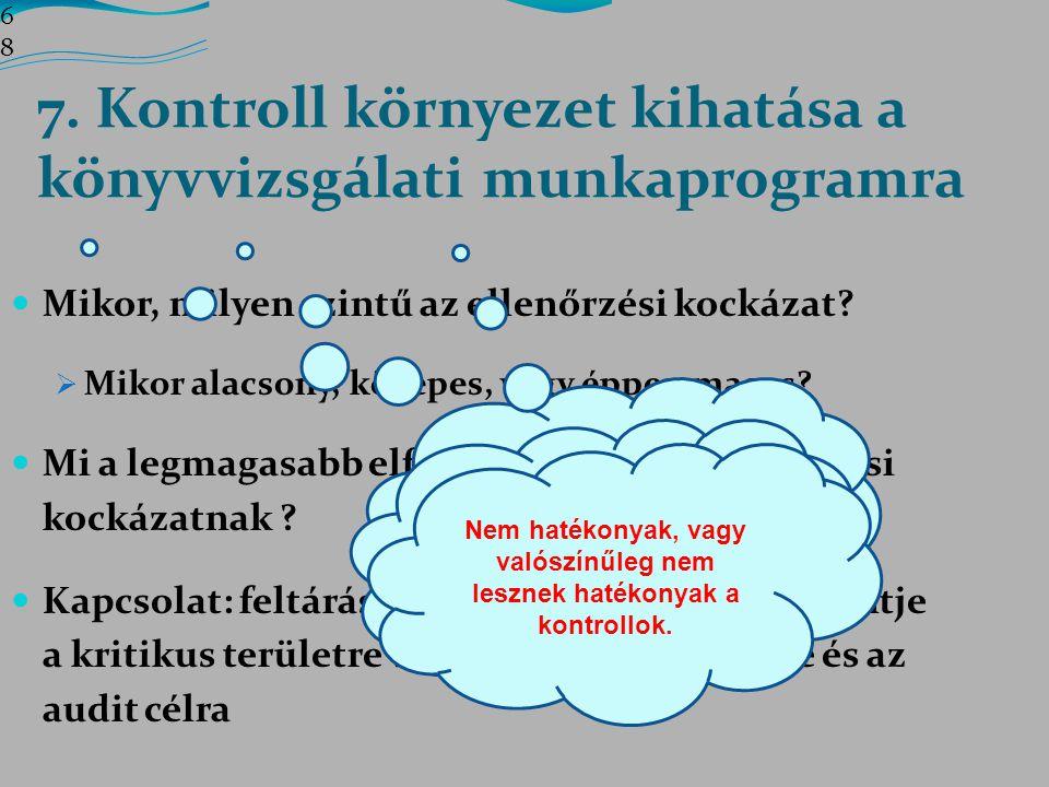 7. Kontroll környezet kihatása a könyvvizsgálati munkaprogramra