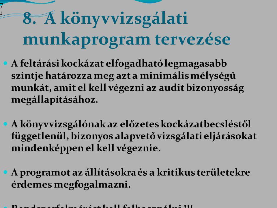 8. A könyvvizsgálati munkaprogram tervezése