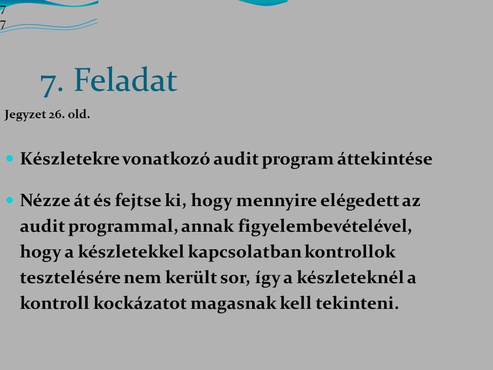 7. Feladat Készletekre vonatkozó audit program áttekintése