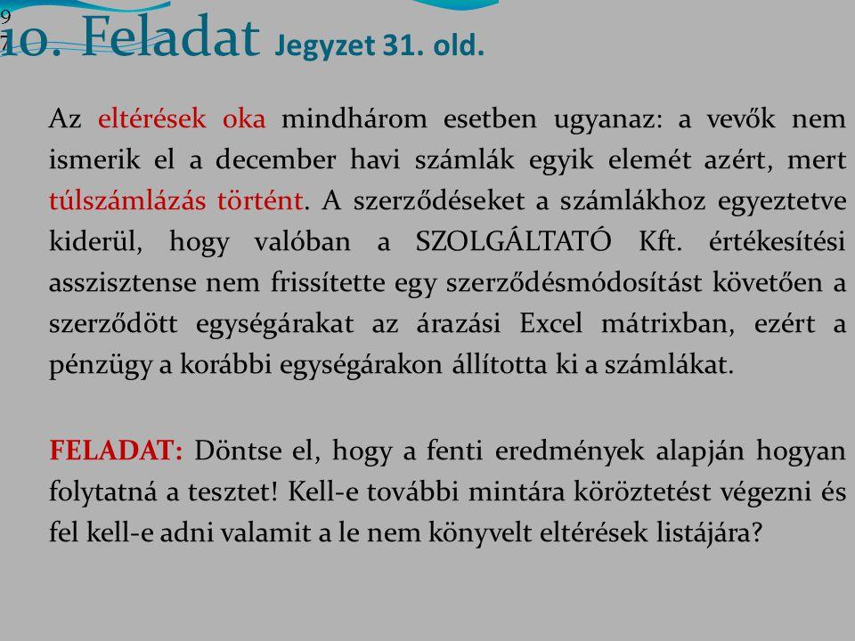 10. Feladat Jegyzet 31. old. 9797.