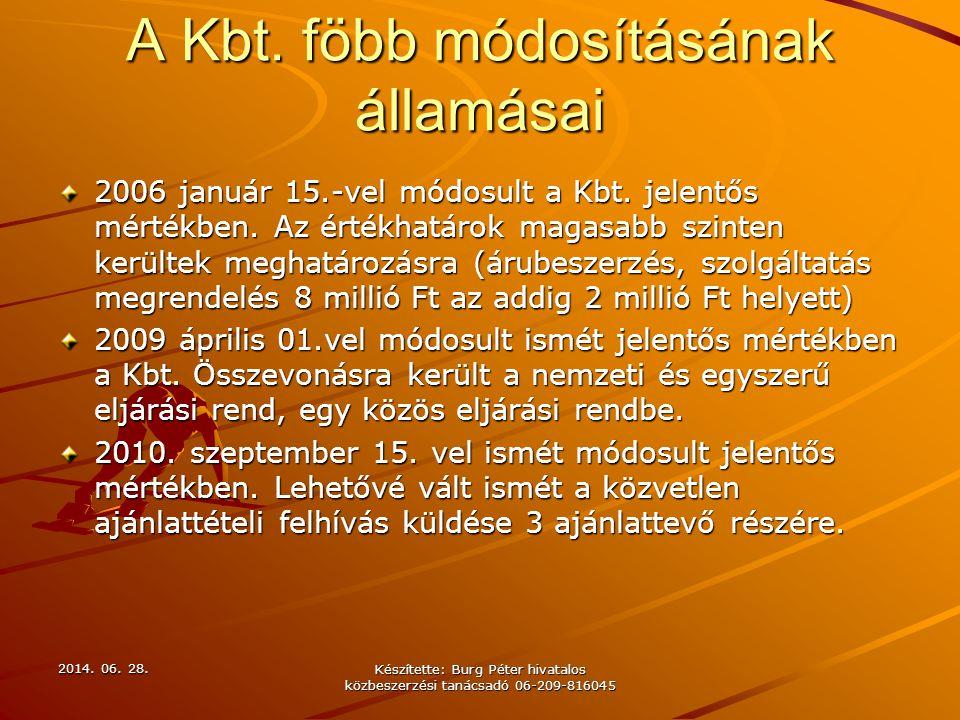 A Kbt. föbb módosításának államásai