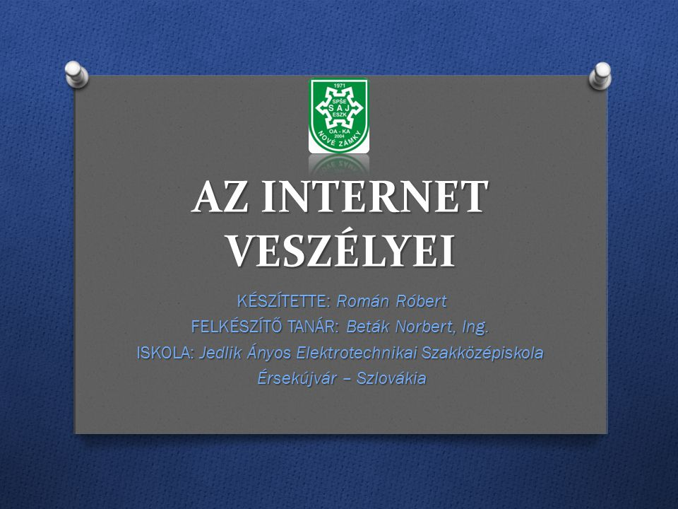 Az internet veszélyei KÉSZÍTETTE: Román Róbert