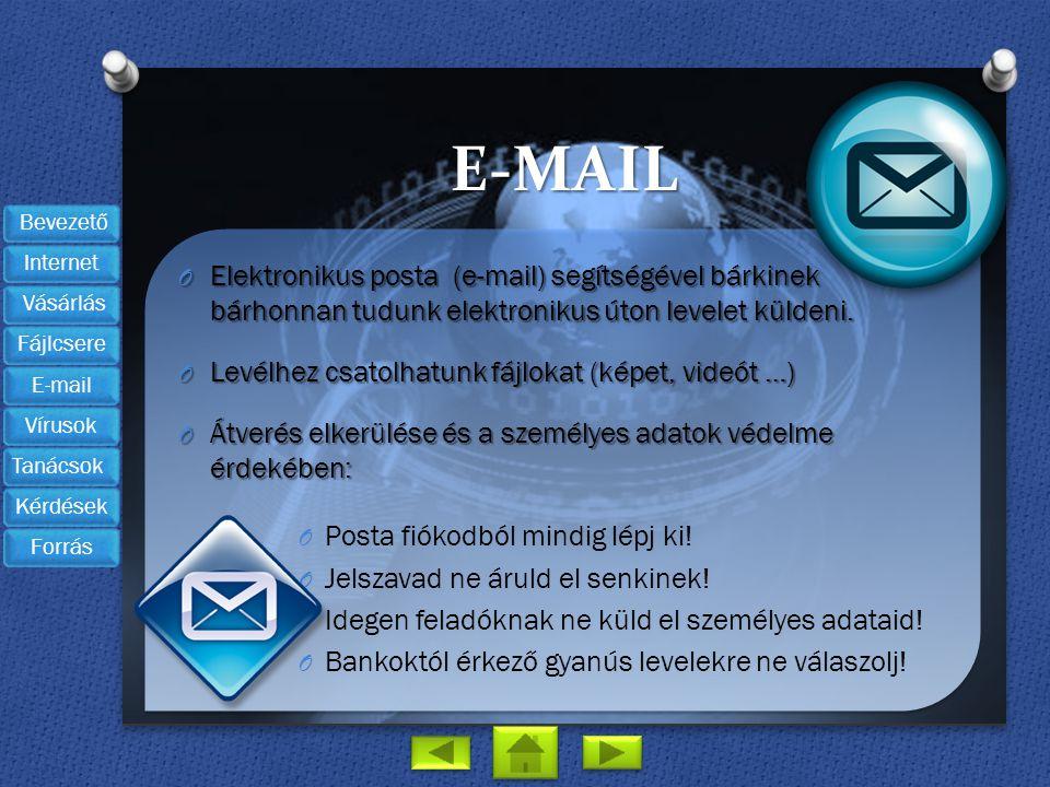 E-mail Elektronikus posta (e-mail) segítségével bárkinek bárhonnan tudunk elektronikus úton levelet küldeni.