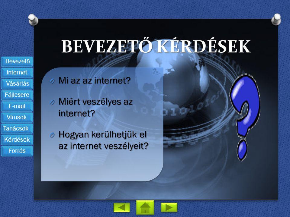 Bevezető kérdések Mi az az internet Miért veszélyes az internet