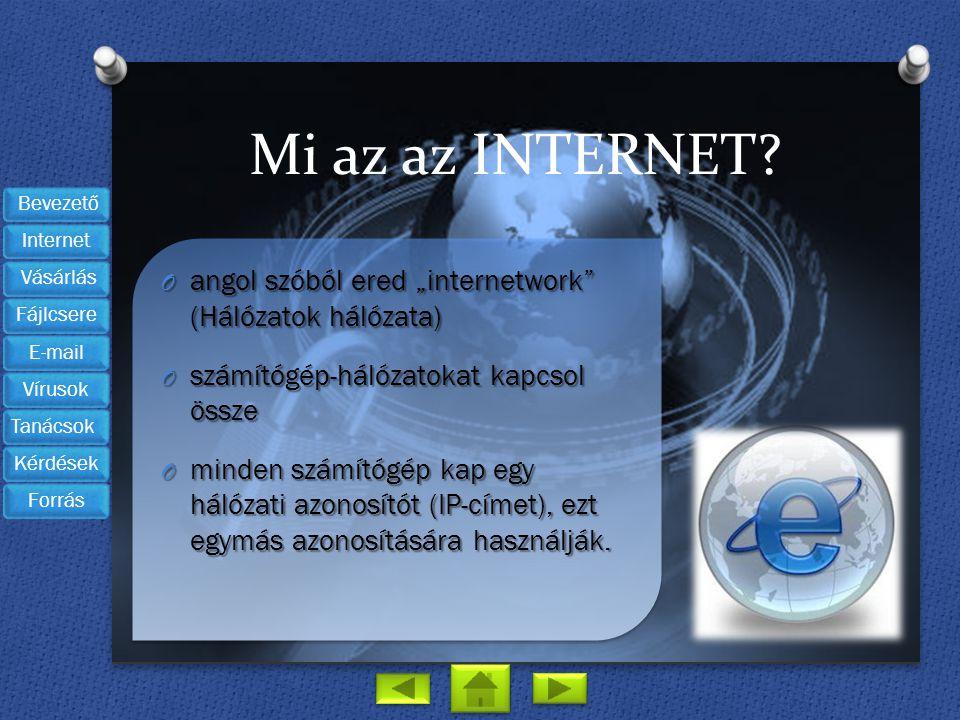 """Mi az az INTERNET angol szóból ered """"internetwork (Hálózatok hálózata) számítógép-hálózatokat kapcsol össze."""