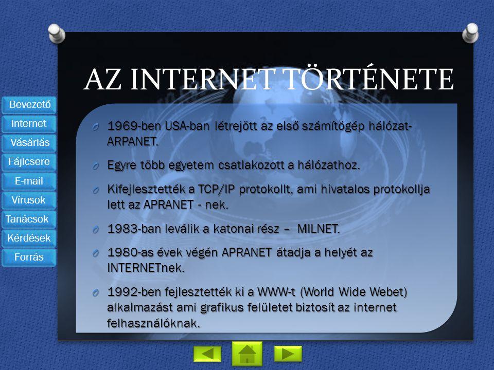 AZ Internet története 1969-ben USA-ban létrejött az első számítógép hálózat- ARPANET. Egyre több egyetem csatlakozott a hálózathoz.