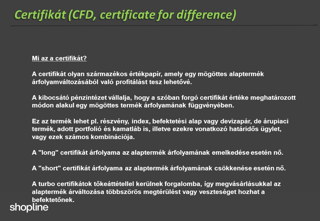 Certifikát (CFD, certificate for difference)