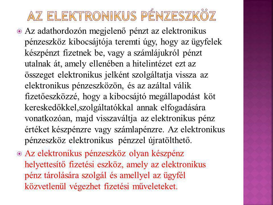Az elektronikus pénzeszköz
