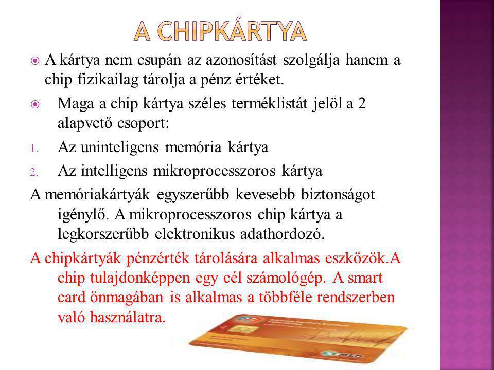 A chipkártya A kártya nem csupán az azonosítást szolgálja hanem a chip fizikailag tárolja a pénz értéket.