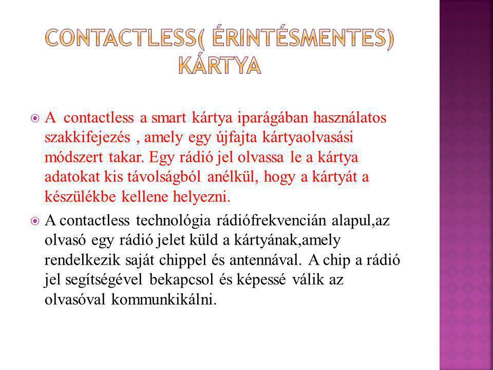 Contactless( érintésmentes) kártya