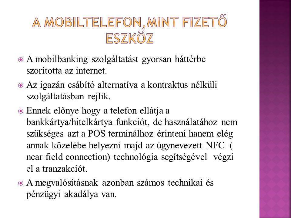 A mobiltelefon,mint fizető eszköz