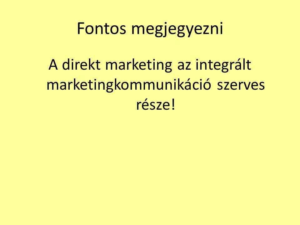 A direkt marketing az integrált marketingkommunikáció szerves része!