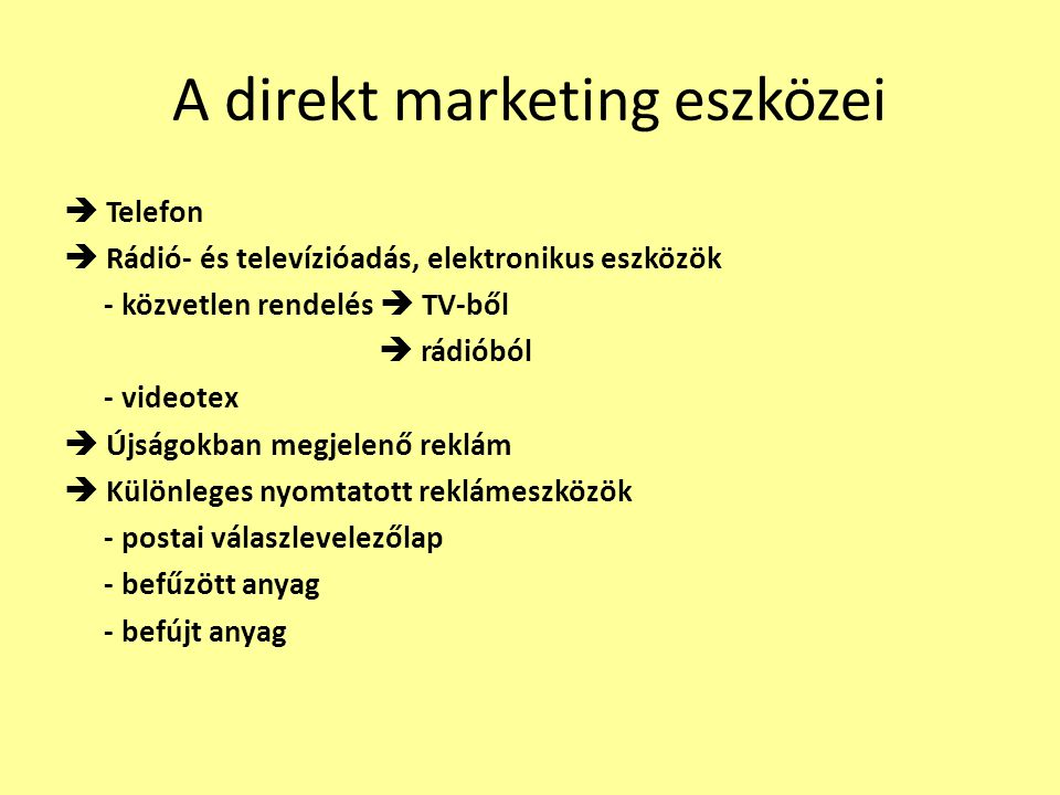 A direkt marketing eszközei