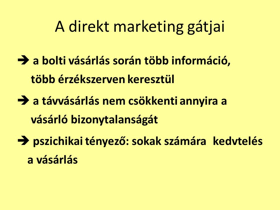 A direkt marketing gátjai