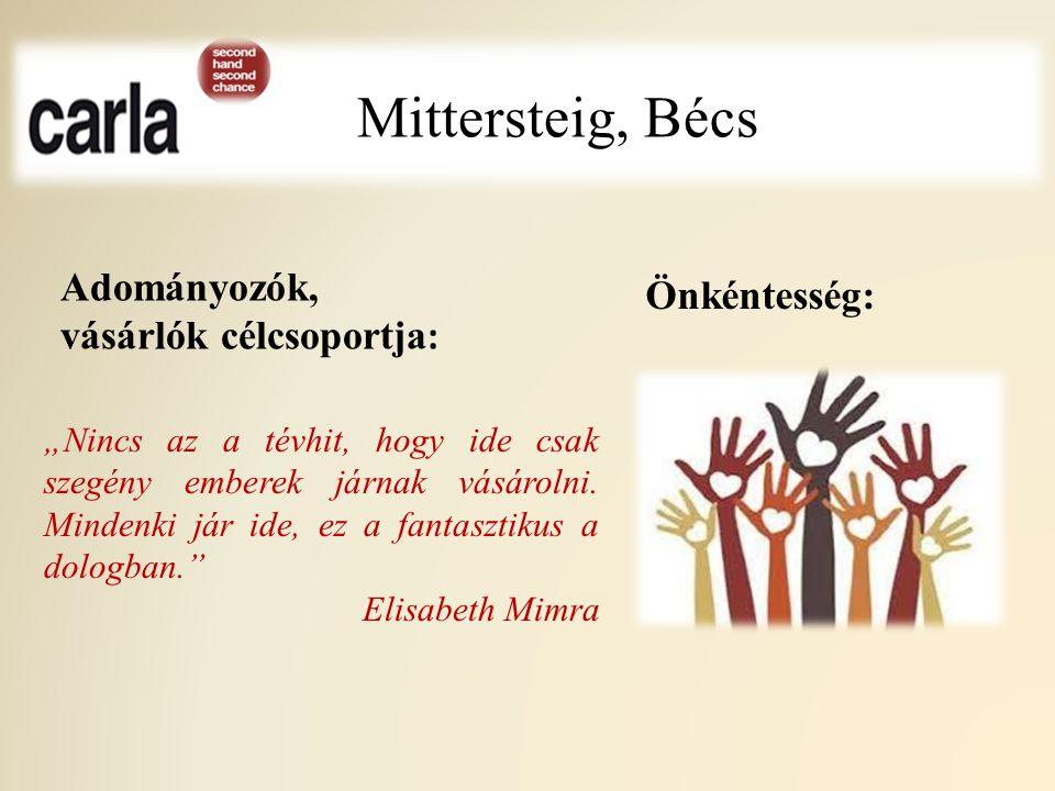 Mittersteig, Bécs Adományozók, vásárlók célcsoportja: Önkéntesség: