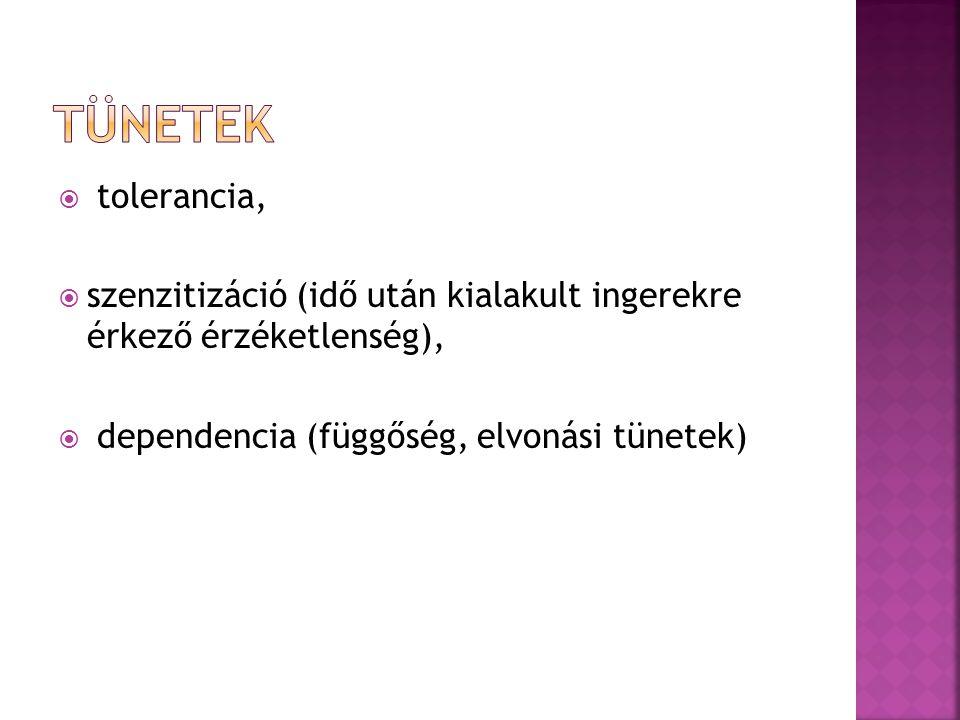 Tünetek tolerancia, szenzitizáció (idő után kialakult ingerekre érkező érzéketlenség), dependencia (függőség, elvonási tünetek)