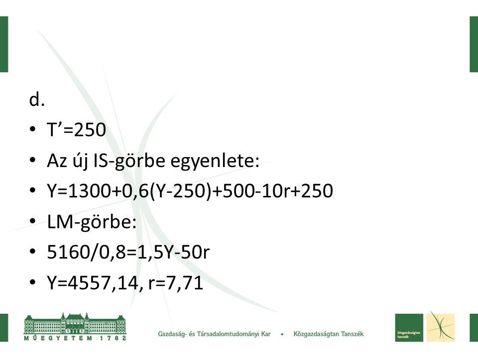 d. T'=250. Az új IS-görbe egyenlete: Y=1300+0,6(Y-250)+500-10r+250. LM-görbe: 5160/0,8=1,5Y-50r.