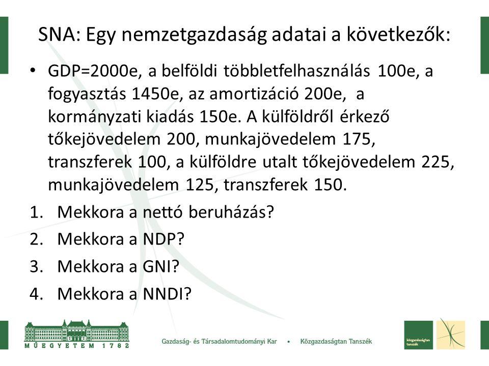 SNA: Egy nemzetgazdaság adatai a következők: