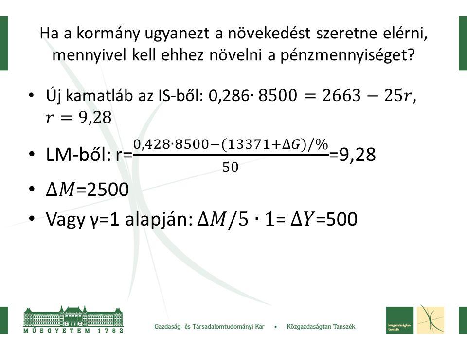 Vagy γ=1 alapján: ∆𝑀/5 ∙1= ∆𝑌=500