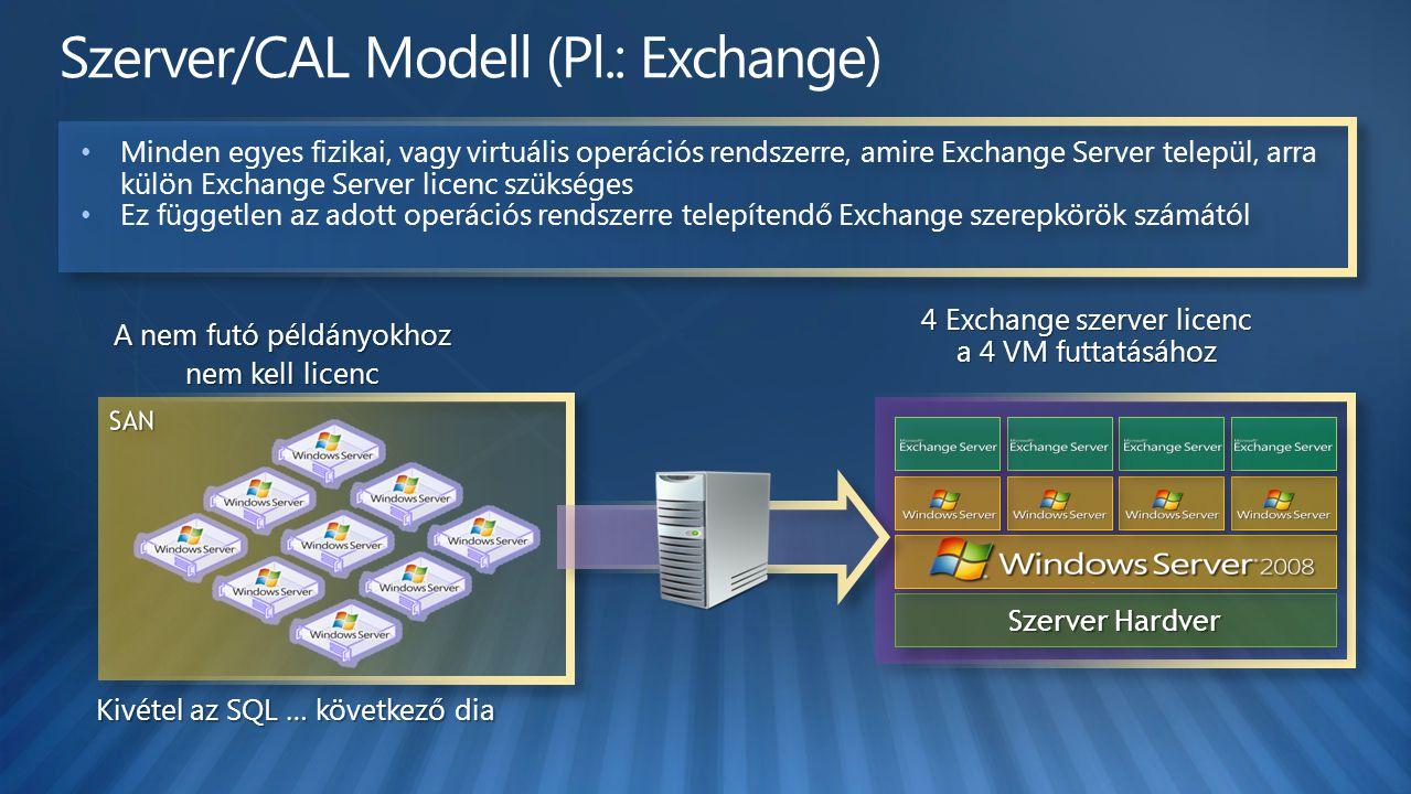 Szerver/CAL Modell (Pl.: Exchange)